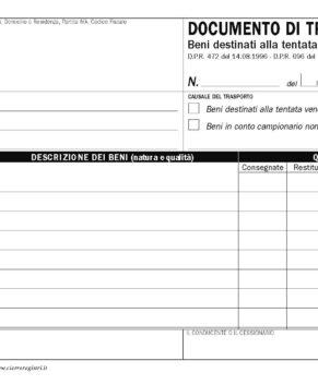 Blocco DDT carico tentata vendita 15x23